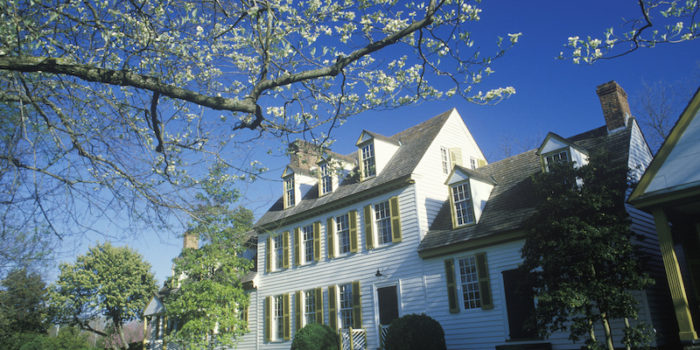 Exterior of colonial home in historical Williamsburg, Virginia in spring