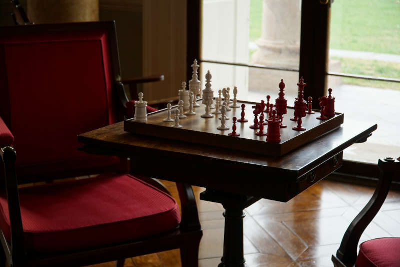 chess board in a sitting room